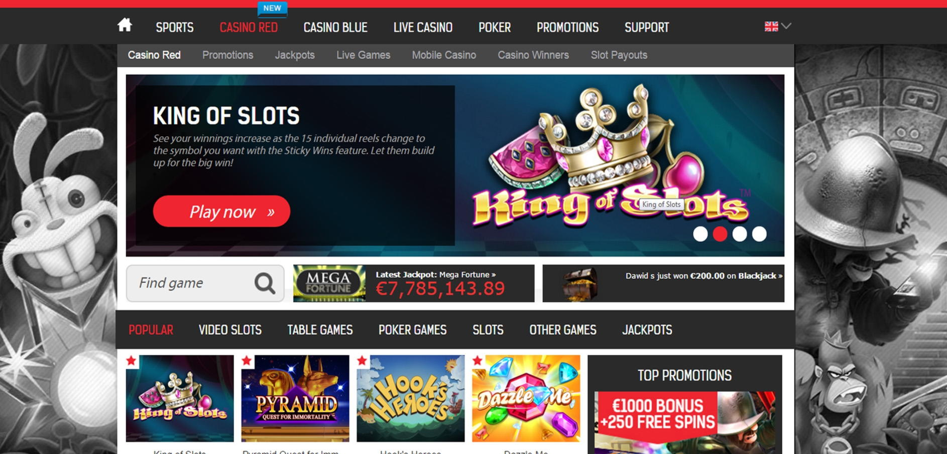 265% First deposit bonus at Party Casino